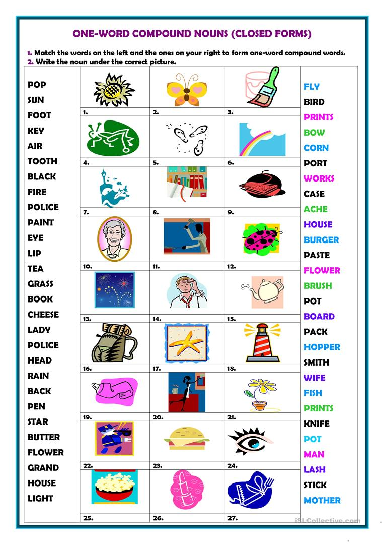 Worksheets Compound Nouns Worksheet 50 000 free esl efl worksheets made by teachers for one word compound nouns
