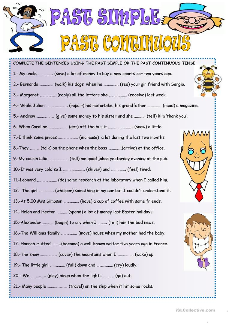 simple past tense and past continuous tense worksheets pdf