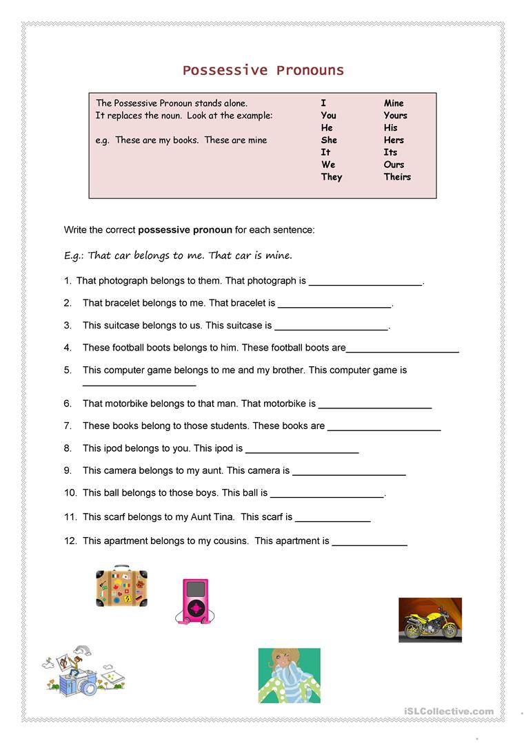 Possessive Pronouns - ESL worksheets