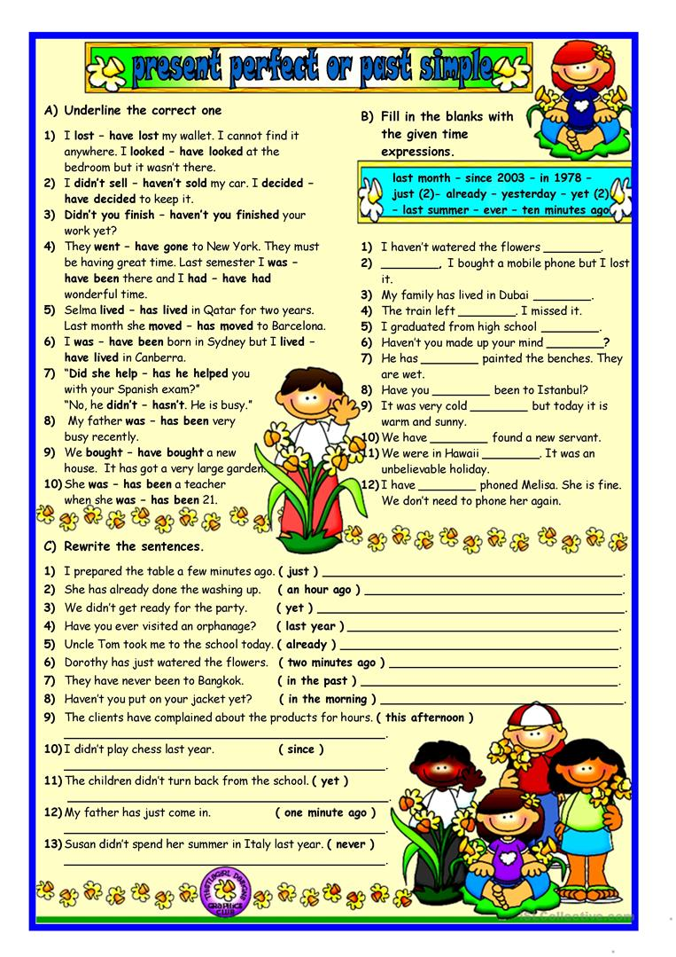 worksheet Past Simple Or Present Perfect Worksheet 177 free esl present perfect or past simple tense worksheets simple