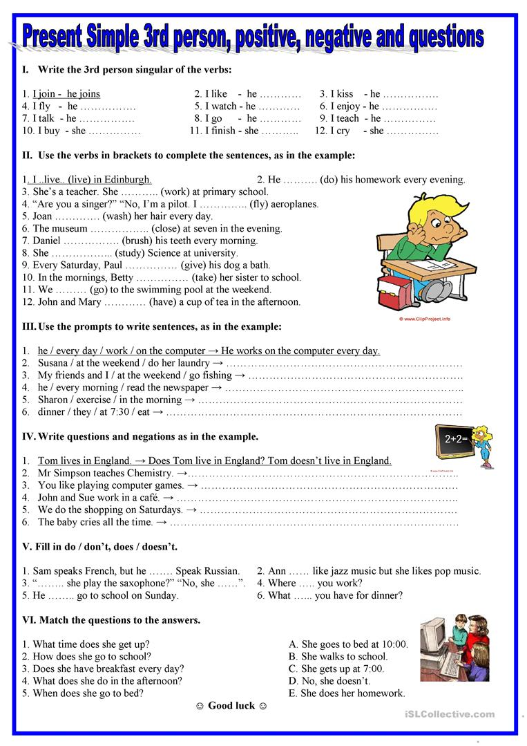 Uncategorized Simple Present Tense Worksheets 3000 free esl present simple tense worksheets 3rd personpositive negativequestions worksheets