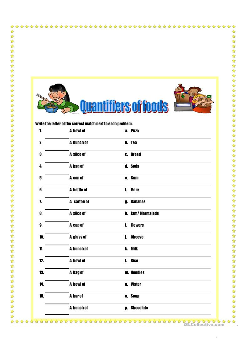 Quantifiers of food and drinks - English ESL Worksheets