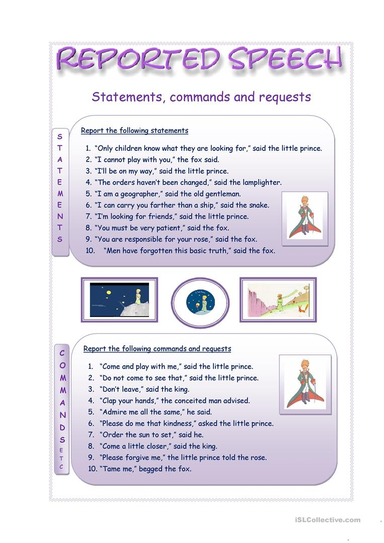 Reported statements, commands and requests practice worksheet ...