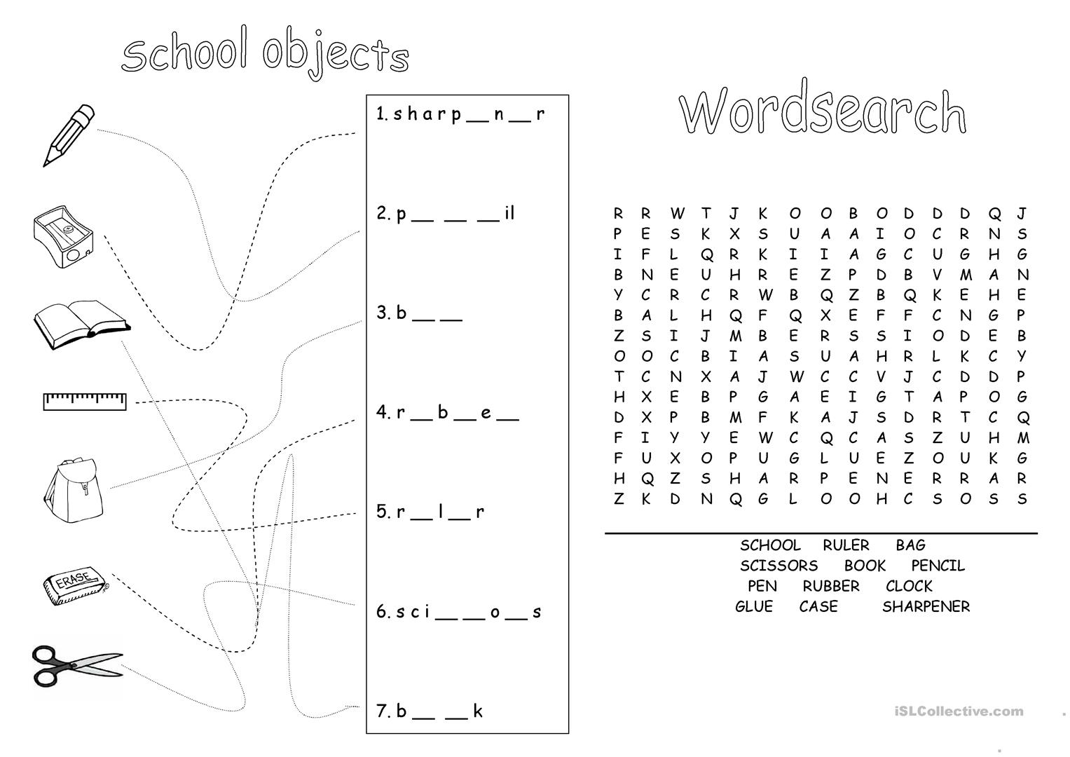 School Objects English Esl Worksheets