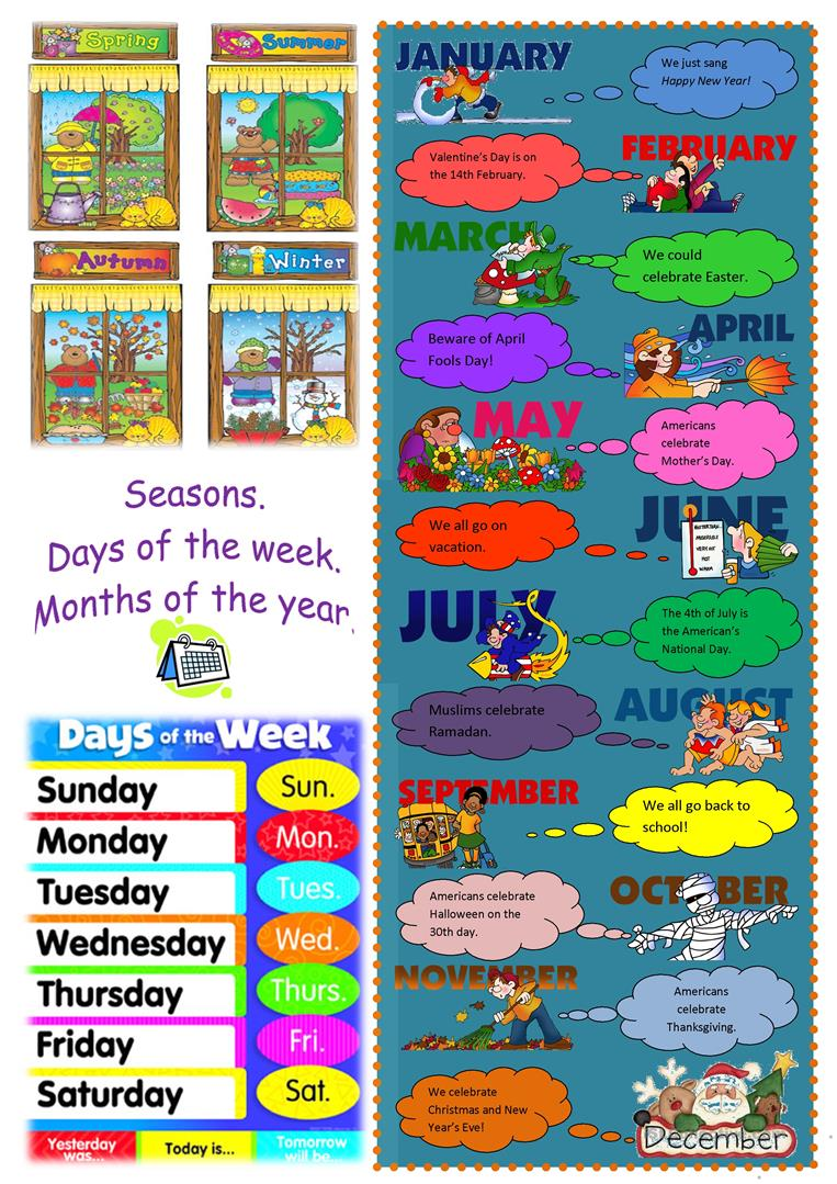 seasons days months poster worksheet free esl printable worksheets made by teachers. Black Bedroom Furniture Sets. Home Design Ideas