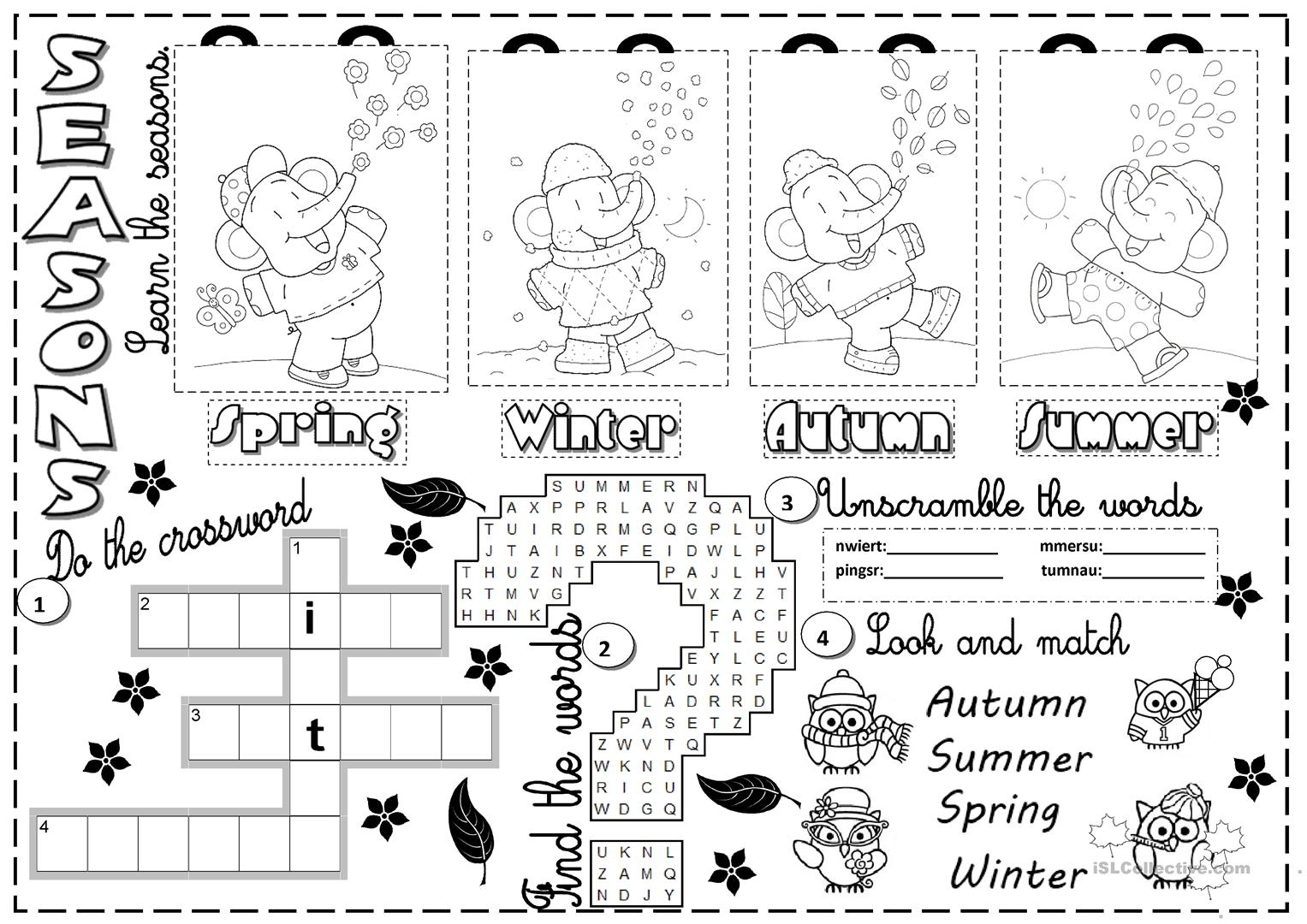 Worksheets Seasons Worksheets 191 free esl seasons worksheets seasons