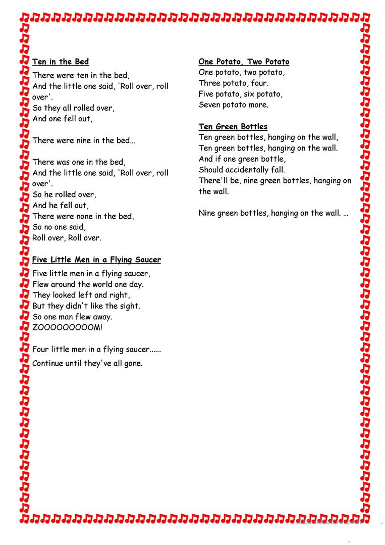 Song And Fingerplay Book English Esl Worksheets For Distance Learning And Physical Classrooms