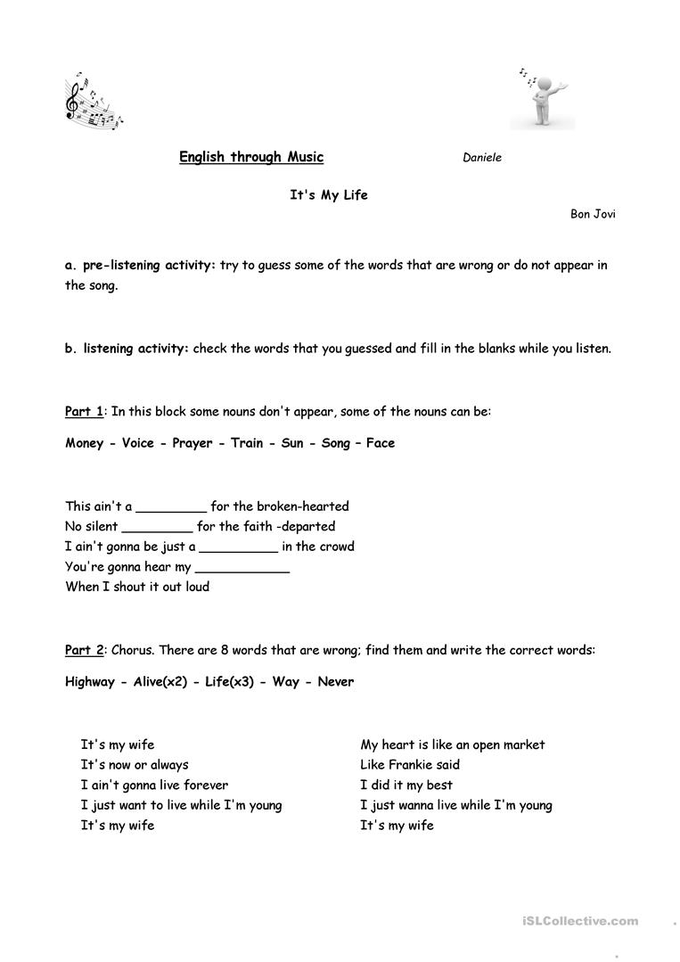 11 FREE ESL bon jovi worksheets