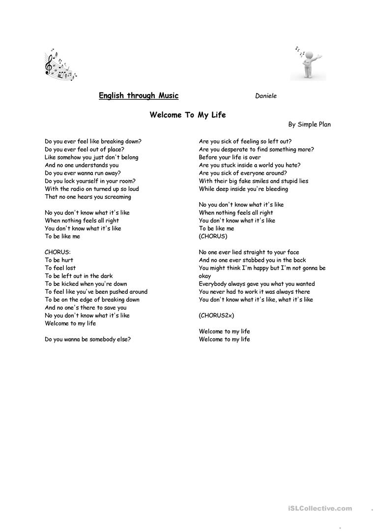 Worksheets Your You Re Worksheet song welcome to my life simple plan worksheet free full screen