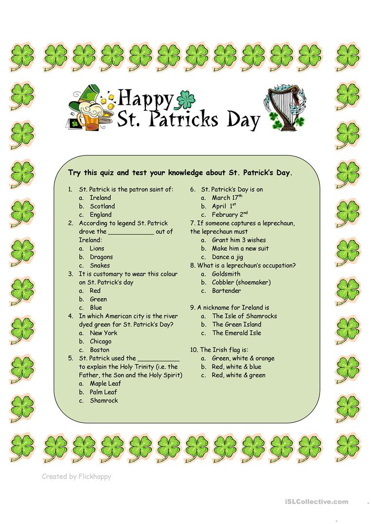 photograph relating to St Patrick Day Trivia Questions and Answers Printable identify St. Patricks Working day Quiz - English ESL Worksheets