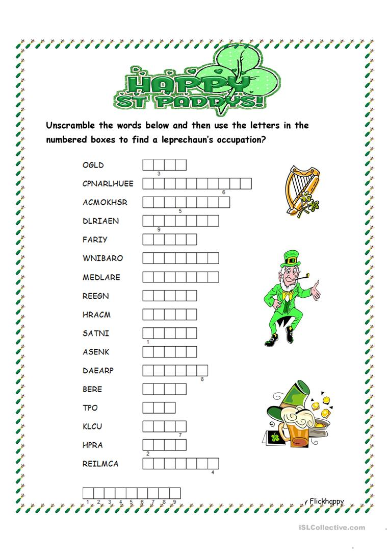 photograph relating to St Patrick's Day Crossword Puzzle Printable referred to as St. Patricks Working day Phrase Scramble - English ESL Worksheets