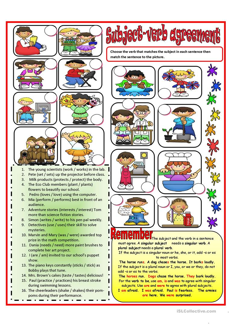 Declarative image throughout subject verb agreement printable worksheets