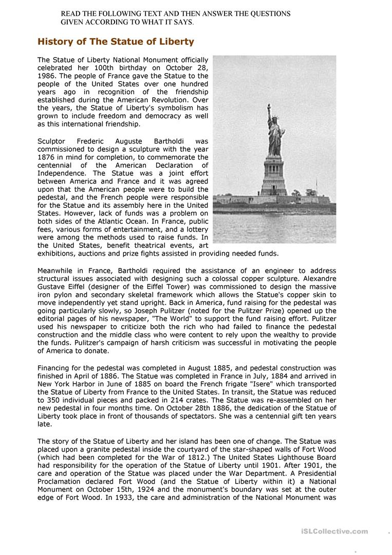 the statue of liberty worksheet Free ESL printable worksheets – Statue of Liberty Worksheets
