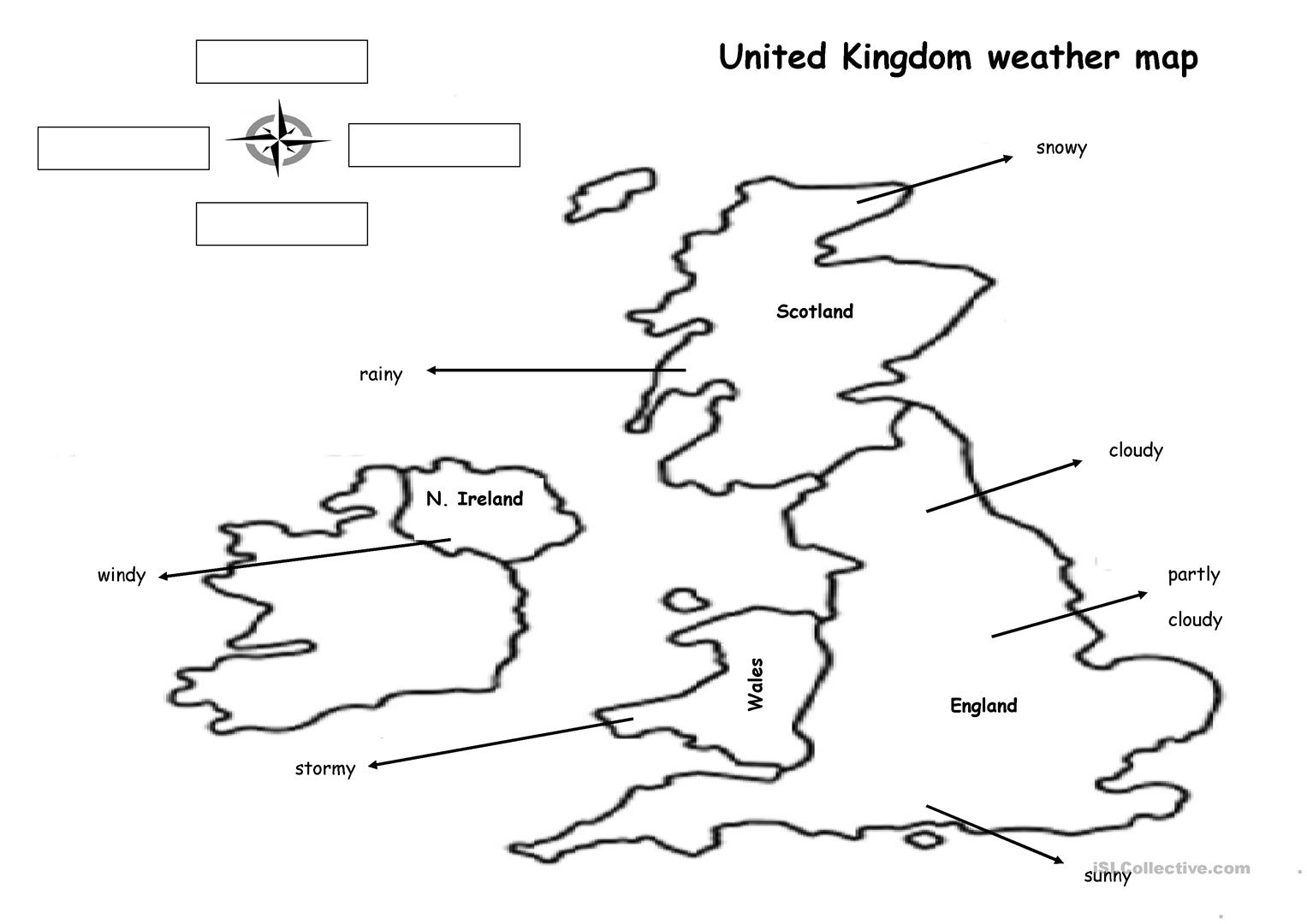 photograph about Weather Map Worksheets Printable referred to as The Weather conditions Map - English ESL Worksheets