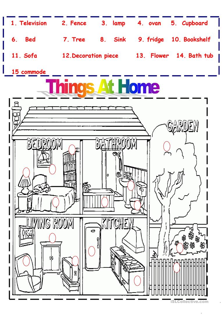 Printable Worksheets Home : Things at home worksheet free esl printable worksheets