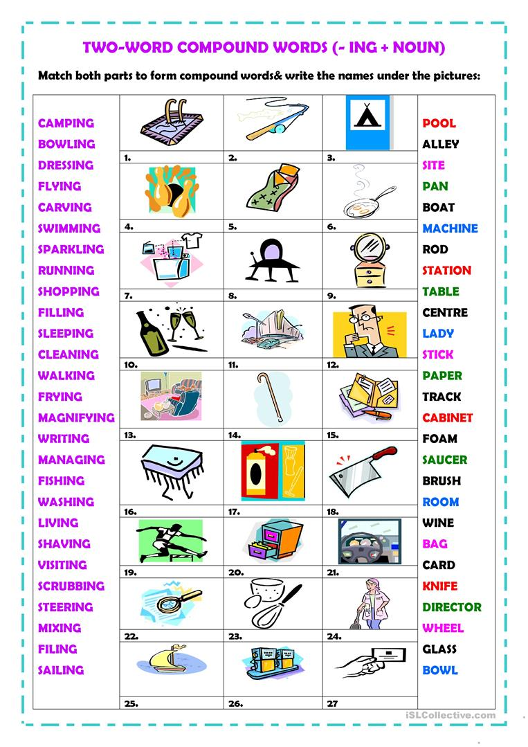 image regarding Printable Compound Word Games named 2-term material words and phrases (-ing ) - English ESL Worksheets