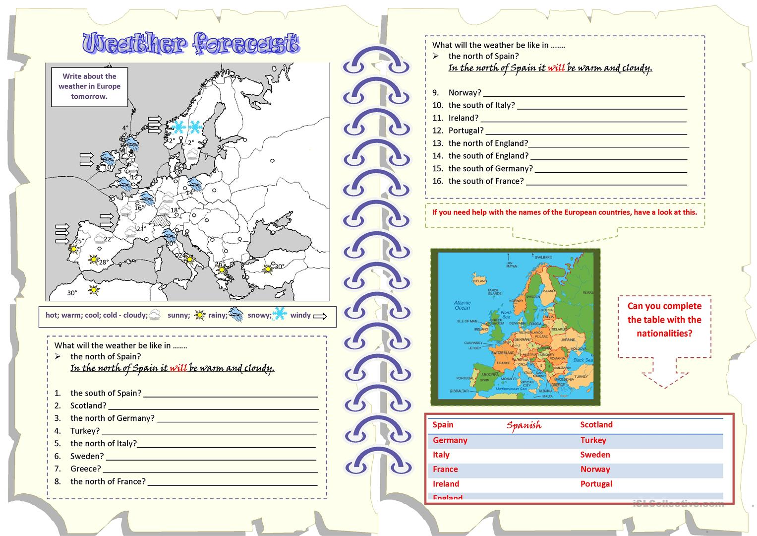 Weather Forecast WILL countries worksheet Free ESL printable – Weather Forecast Worksheet