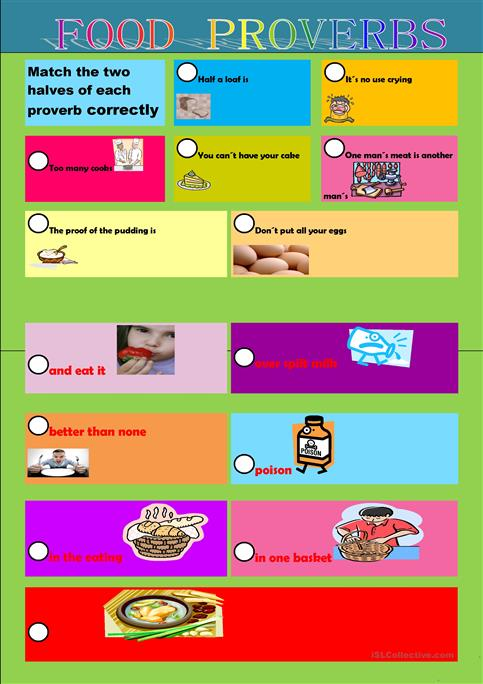 Food proverbs - English ESL Worksheets