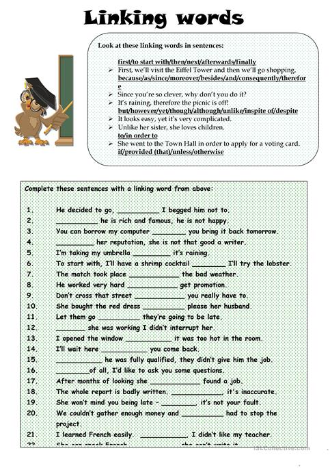 Linking Words Worksheet Free Esl Printable Worksheets Made By Teachers