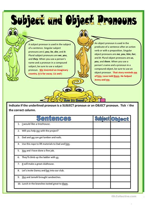 subject and object pronouns Interactive worksheets