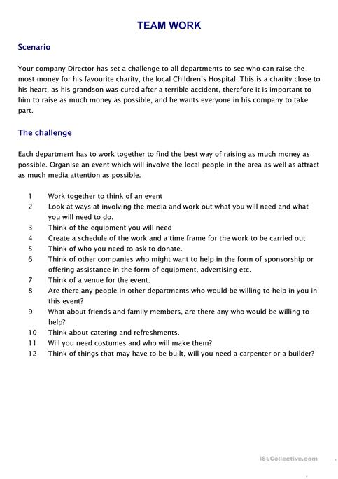 Teamwork Challenge Worksheet Free Esl Printable Worksheets Made By