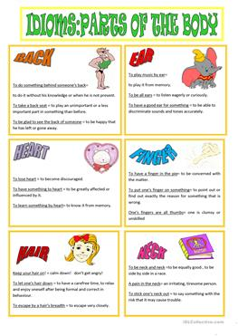 idioms denoting parts of body Body parts in idioms author(s the present paper is a study on english idioms which contain words denoting parts of the body parallel idioms from romanian are.