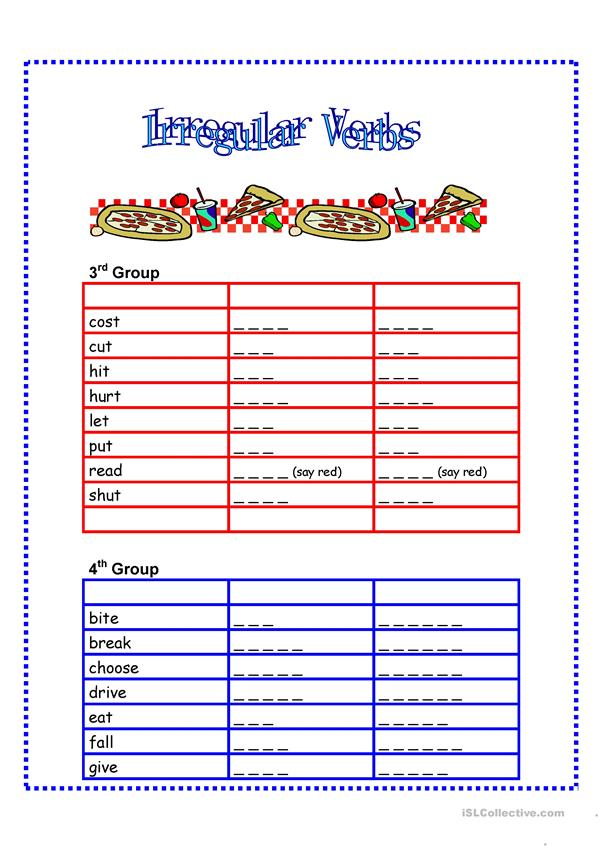 7 Page Irregular Verb Review: Write Verbs on the Dotted Line