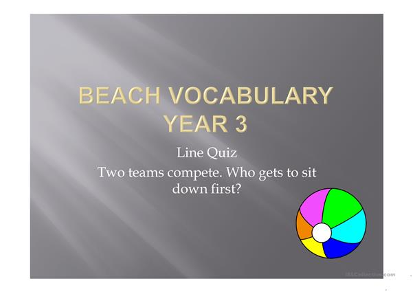 BEACH VOCABULARY GAME