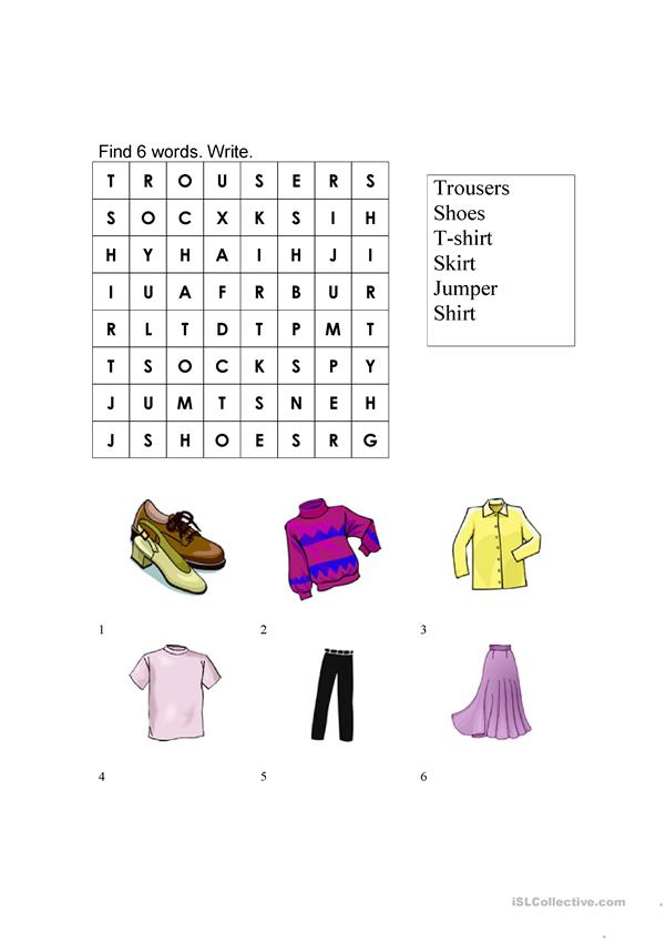 Clothing worksheet- true/false and wordsearch