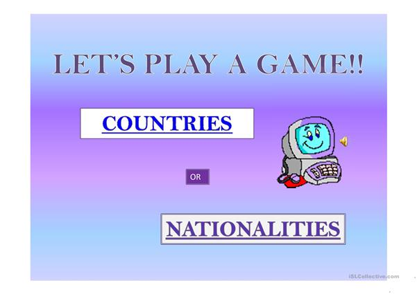Country and Nationality Game