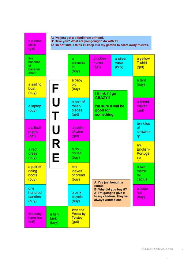 Futures Board Game (will/ going to)