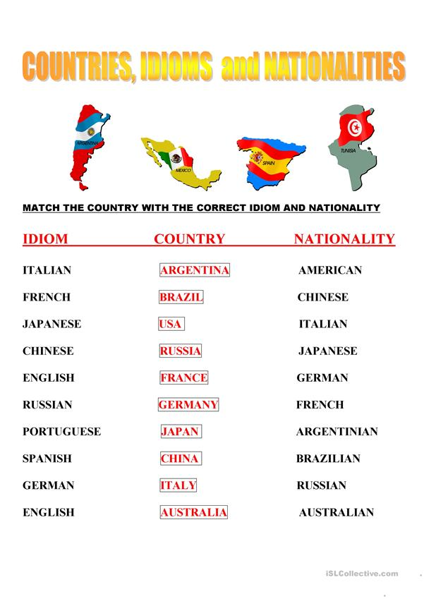 idioms, countries and nationalities