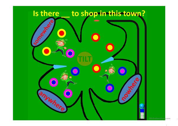 Indefinite Pronouns Pinball Game Somewhere, Anywhere and Nowhere