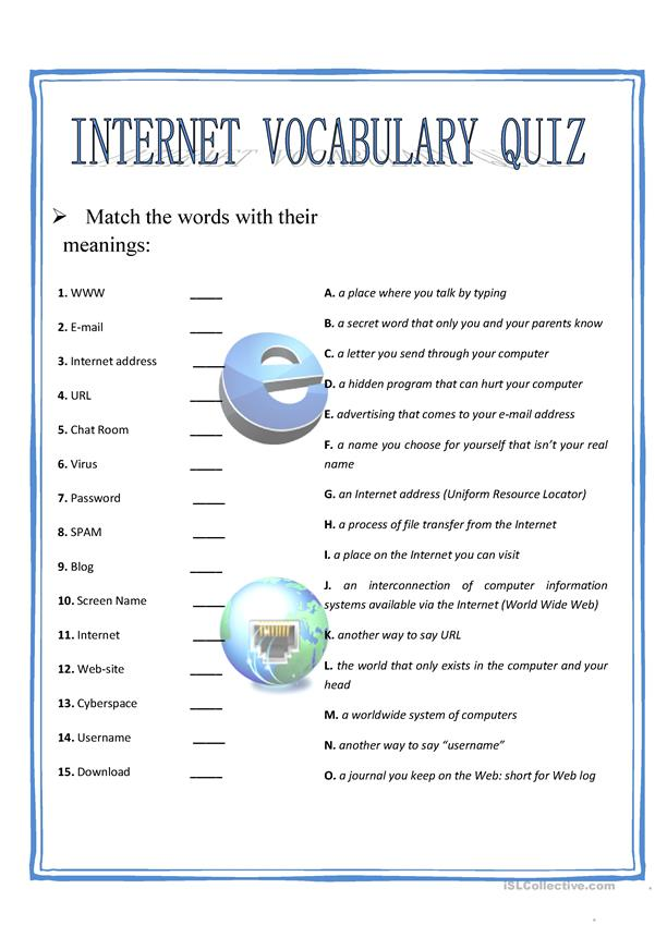 Internet vocabulary quiz