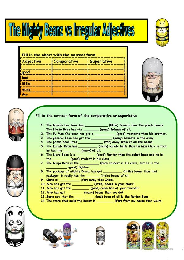 Irregular Adjectives Chart and Exercises with The Mighty Beanz