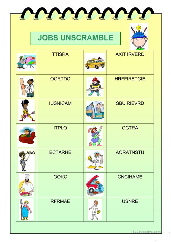 Jobs unscramble