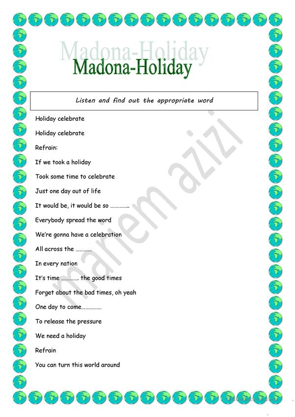 madona's song+8th form project work sample