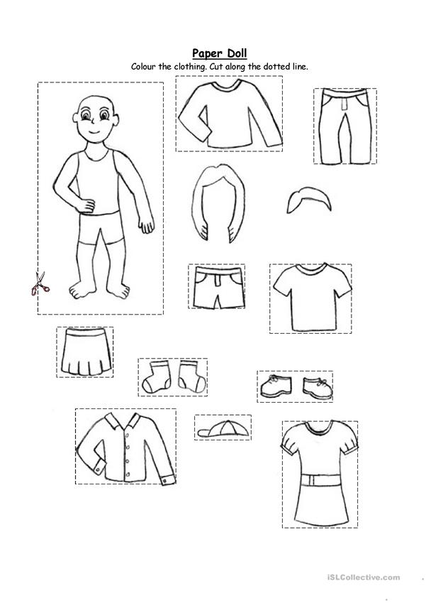 Paper doll- clothing (for kindergarten and 1st graders)