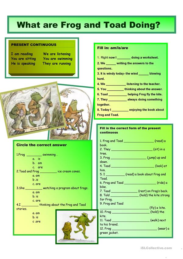 Present Continuous with Frog & Toad