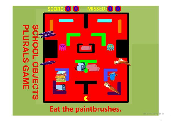SCHOOL OBJECTS PLURALS PACMAN GAME