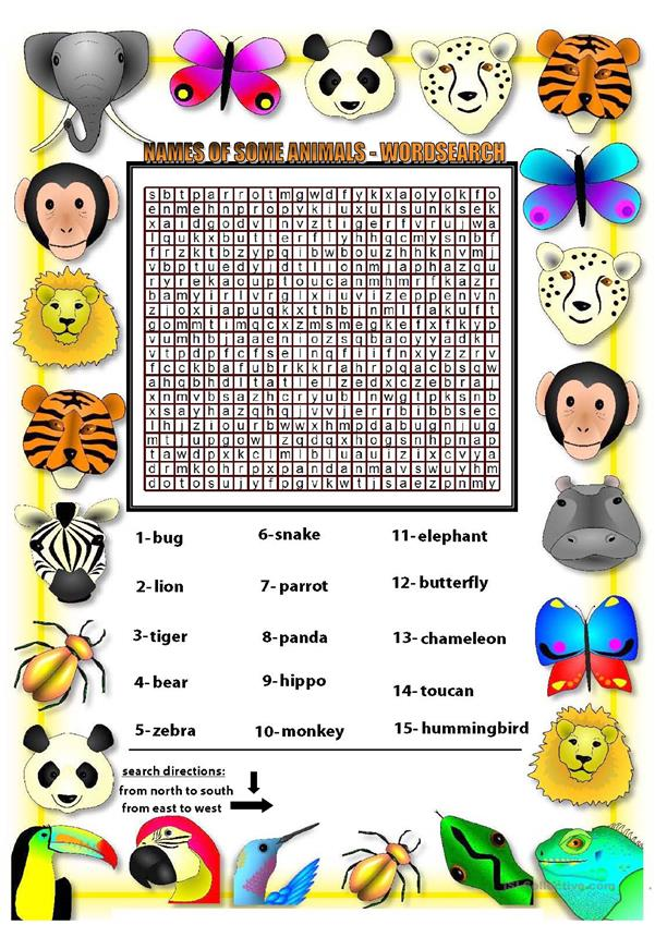 Some animals names - wordsearch