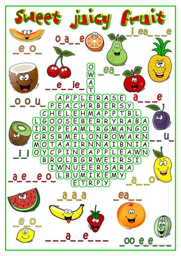 Sweet juicy frui - wordsearch