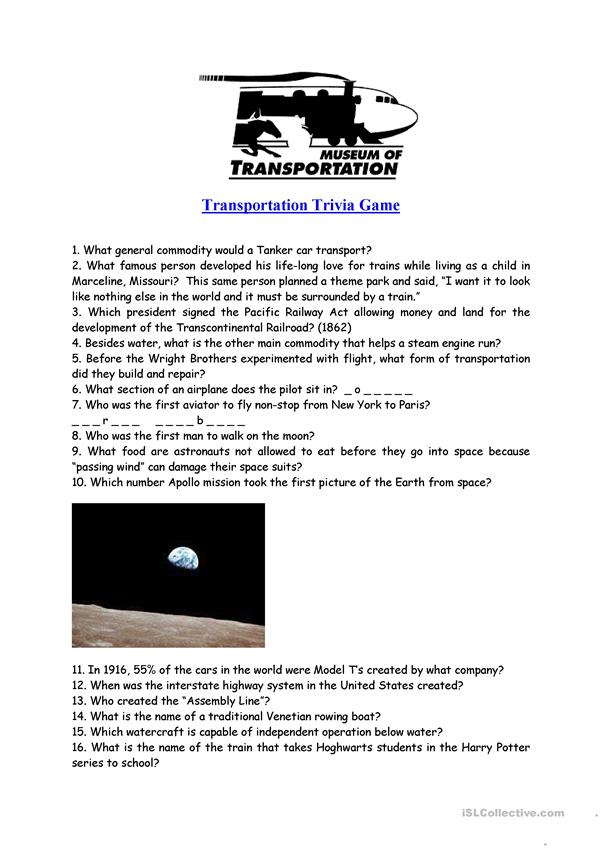 TRANSPORT TRIVIA GAME