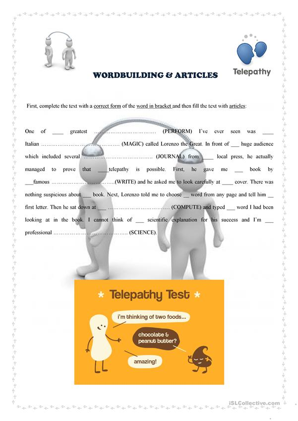 Wordbuilding and articles