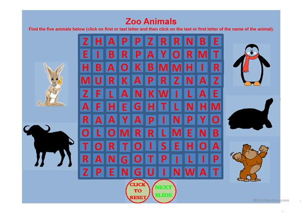 ZOO ANIMAL WORD SEARCH PART 1