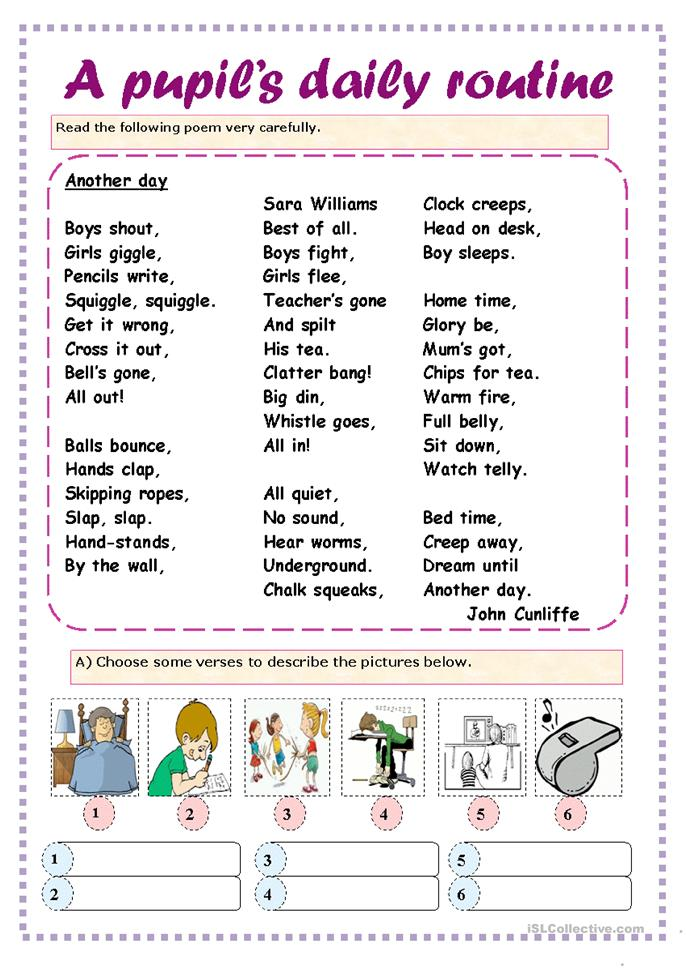 A Pupil S Daily Routine Worksheet Free Esl Printable