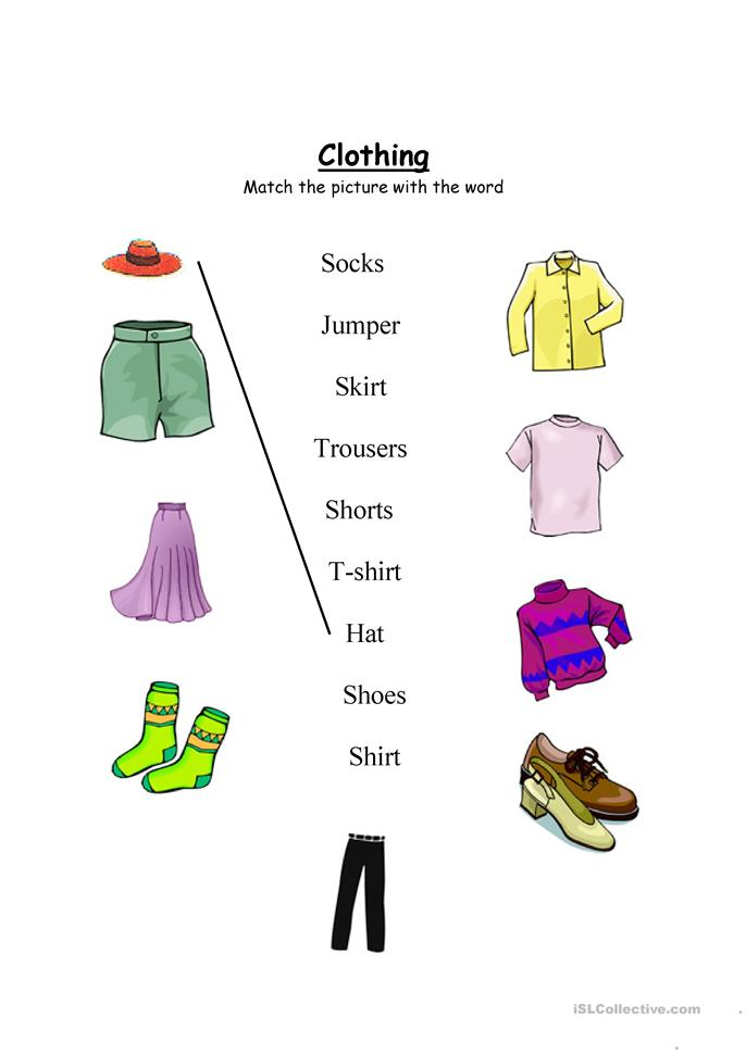 Clothing worksheet- Match and wordsearch - ESL worksheets