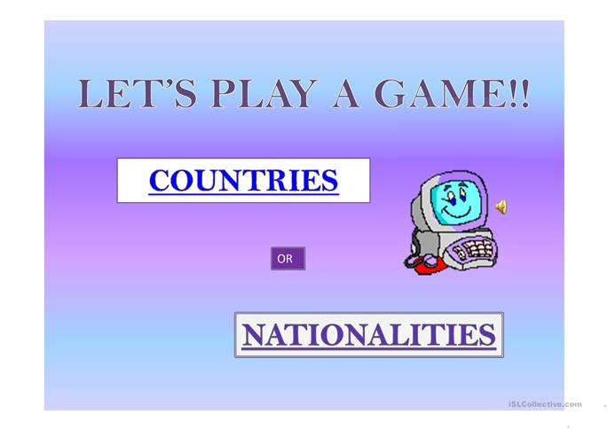 Country and Nationality Game - ESL powerpoints