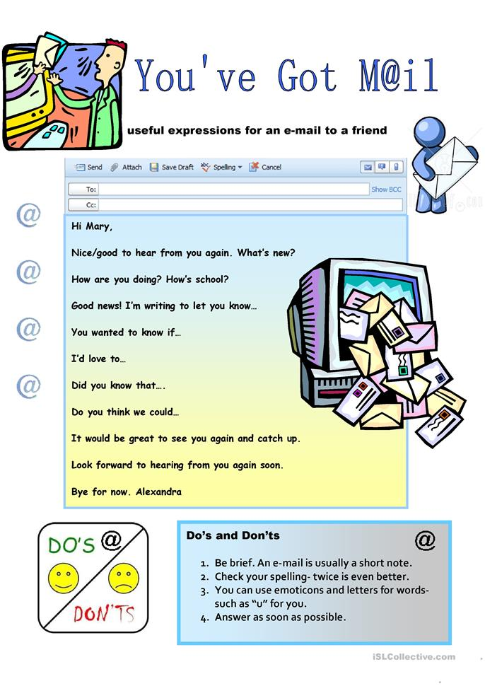 Creative Writing: An e-Mail to a Friend - ESL worksheets