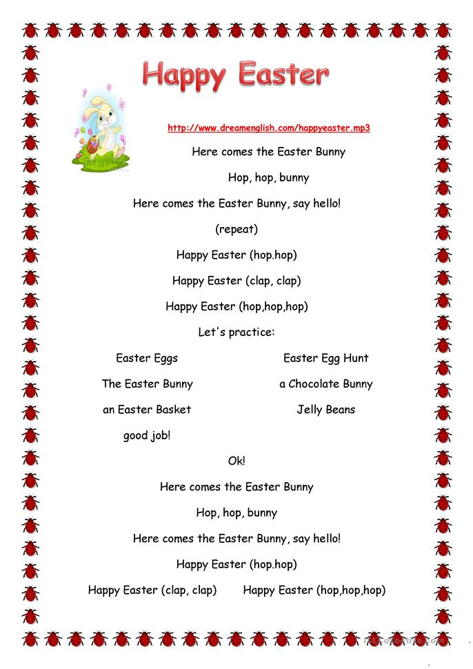 Easter Bunny song - ESL worksheets